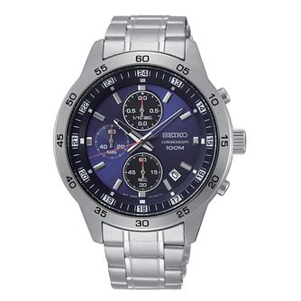 Seiko Blue Chronograph Dial Stainless Steel Bracelet Watch - Product number 2948451