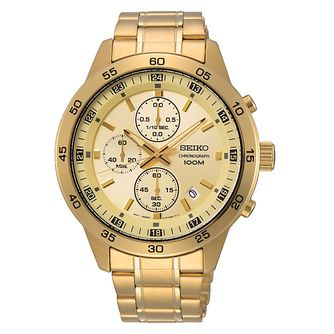 Seiko Men's Gold Chronograph Dial Gold Tone Bracelet Watch - Product number 2948486