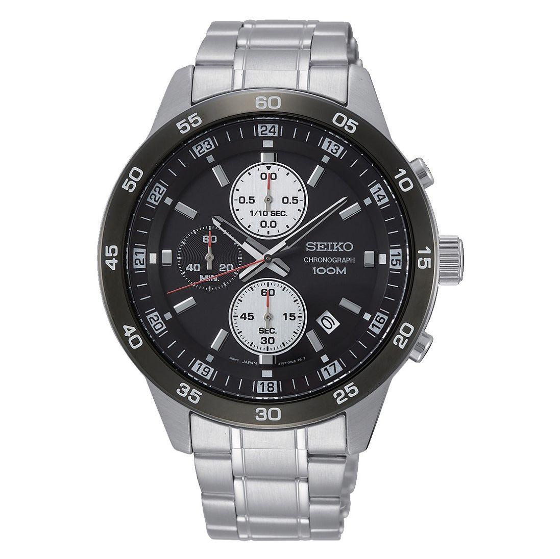 Seiko Black Chronograph Dial Stainless Steel Bracelet Watch - Product number 2948494