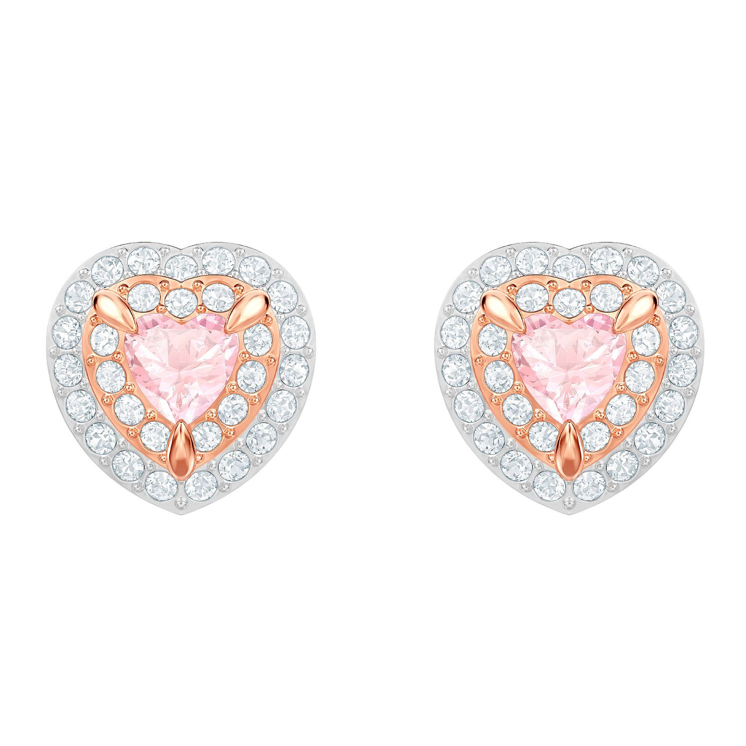 Swarovski One Rose Gold Plated Heart Stud Earrings - Product number 2948672