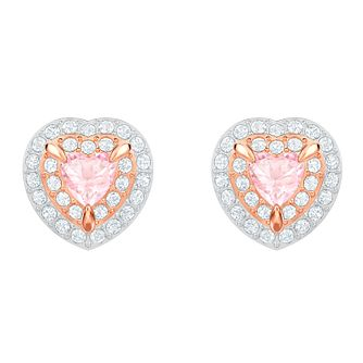 a5877089ca37a Swarovski One Rose Gold Plated Heart Stud Earrings - Product number 2948672