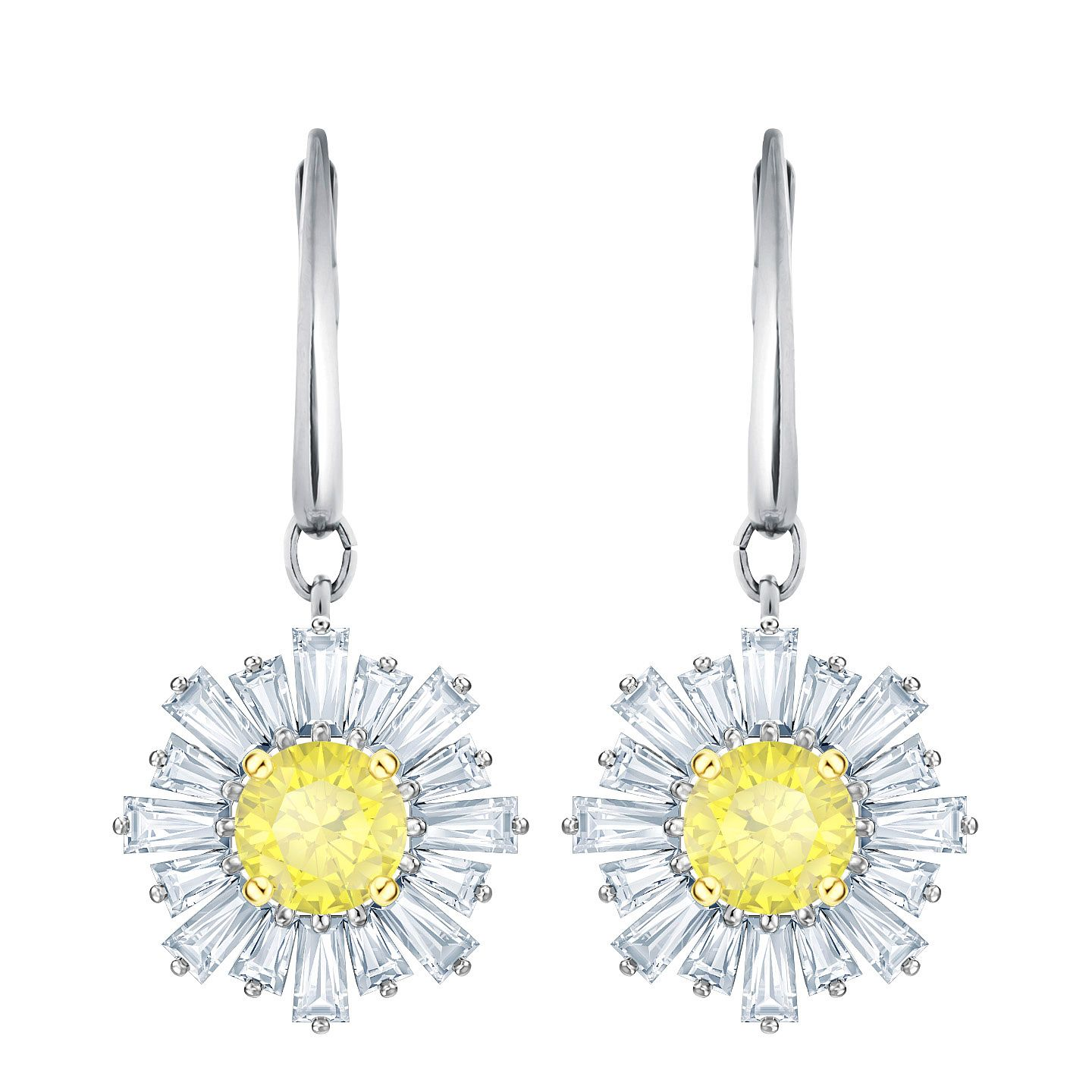 Swarovski Ladies' Rhodim Plated Sunshine Drop Earrings - Product number 2948753