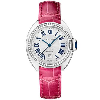 Cartier Cle Ladies' 18ct White Gold Pink Leather Strap Watch - Product number 2948915