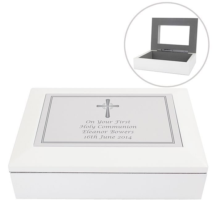 Personalised Silver Cross White Wooden Keepsake Box - Product number 2949946