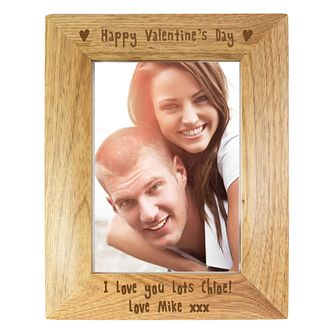 Engraved 6x4 Happy Valentines Day Wooden Frame - Product number 2949997
