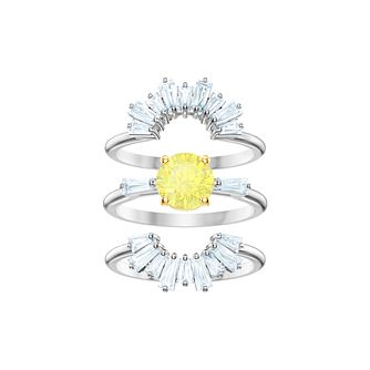 Swarovski Ladies' Rhodium Plated Sunshine Stackable Ring Set - Product number 2950332