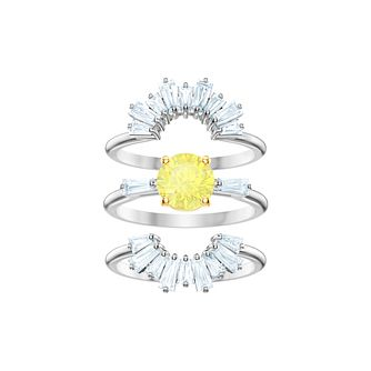 Swarovski Ladies' Rhodium Plated Sunshine Stackable Ring Set - Product number 2950421