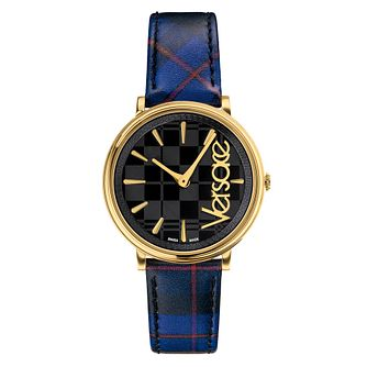 Versace V Circle Blue/Red Tartan Leather Strap Watch - Product number 2951932