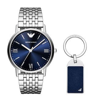 Emporio Armani Men's Stainless Steel Watch & Keyring Box Set - Product number 2952254