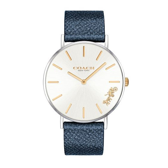 Coach Perry Ladies' Metallic Blue Leather Strap Watch - Product number 2952998