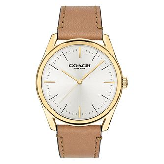 Coach Modern Luxury Men's Brown Leather Strap Watch - Product number 2953129