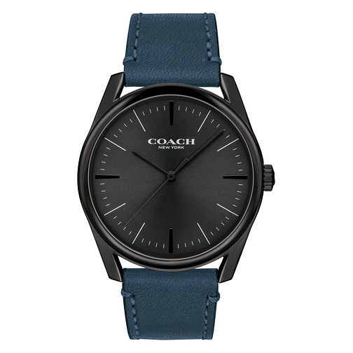 Coach Modern Luxury Men's Blue Leather Strap Watch - Product number 2953137