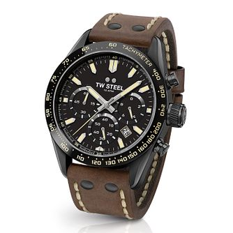 Tw Steel Chrono Sport Retro Men's Brown Leather Strap Watch - Product number 2953285
