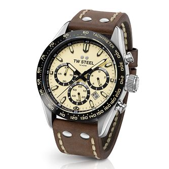 Tw Steel Chrono Sport Retro Men's Brown Leather Strap Watch - Product number 2953315