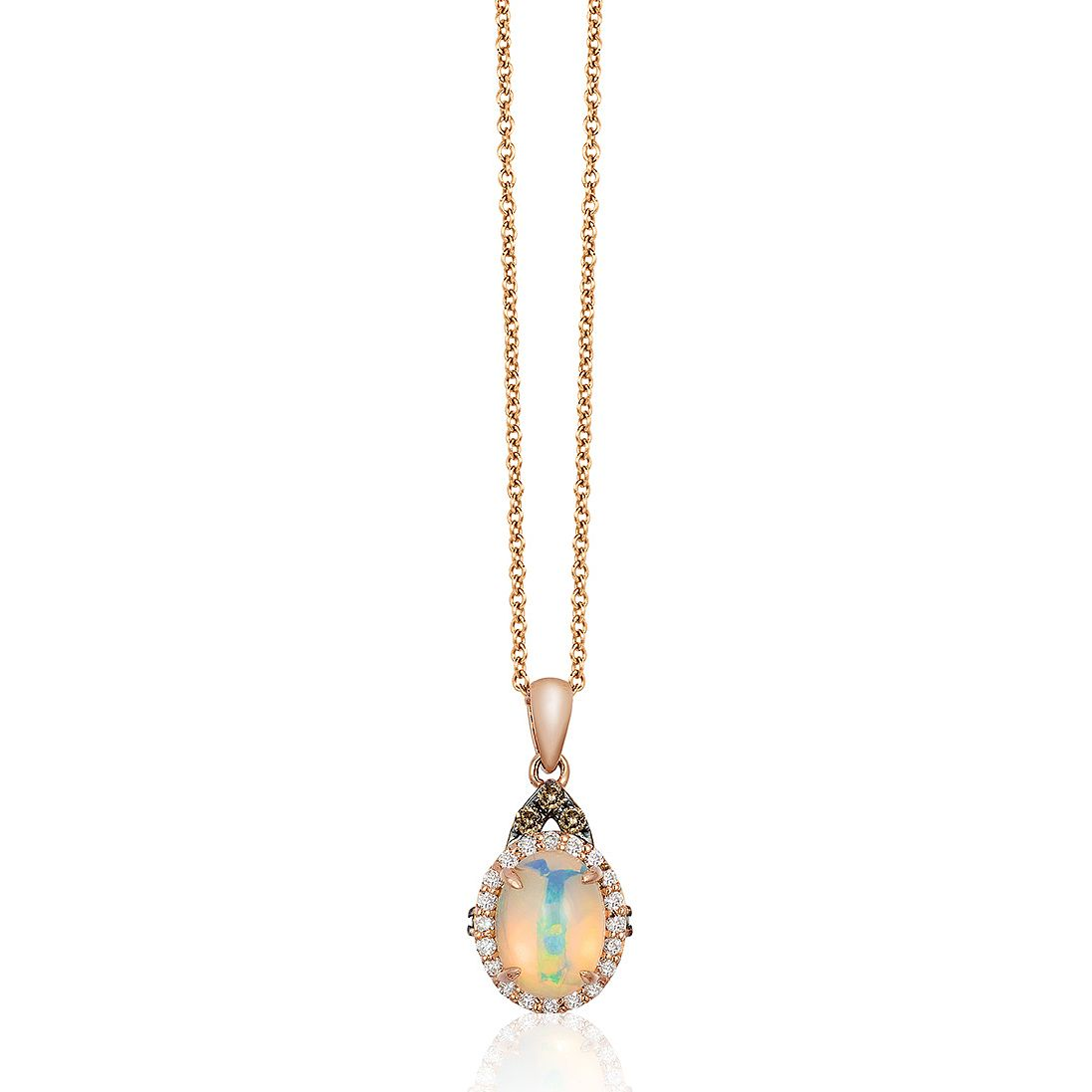 Le Vian 14ct Strawberry Gold Opal & 0.17ct Diamond Pendant - Product number 2957086