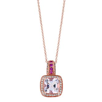 Le Vian 14ct Strawberry Gold Amethyst 0.18ct Diamond Pendant - Product number 2957094