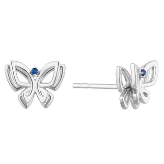 Vera Wang Sterling Silver Sapphire Butterfly Stud Earrings - Product number 2959798
