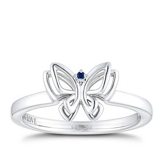 Vera Wang Sterling Silver Sapphire Butterfly Ring - Product number 2959801