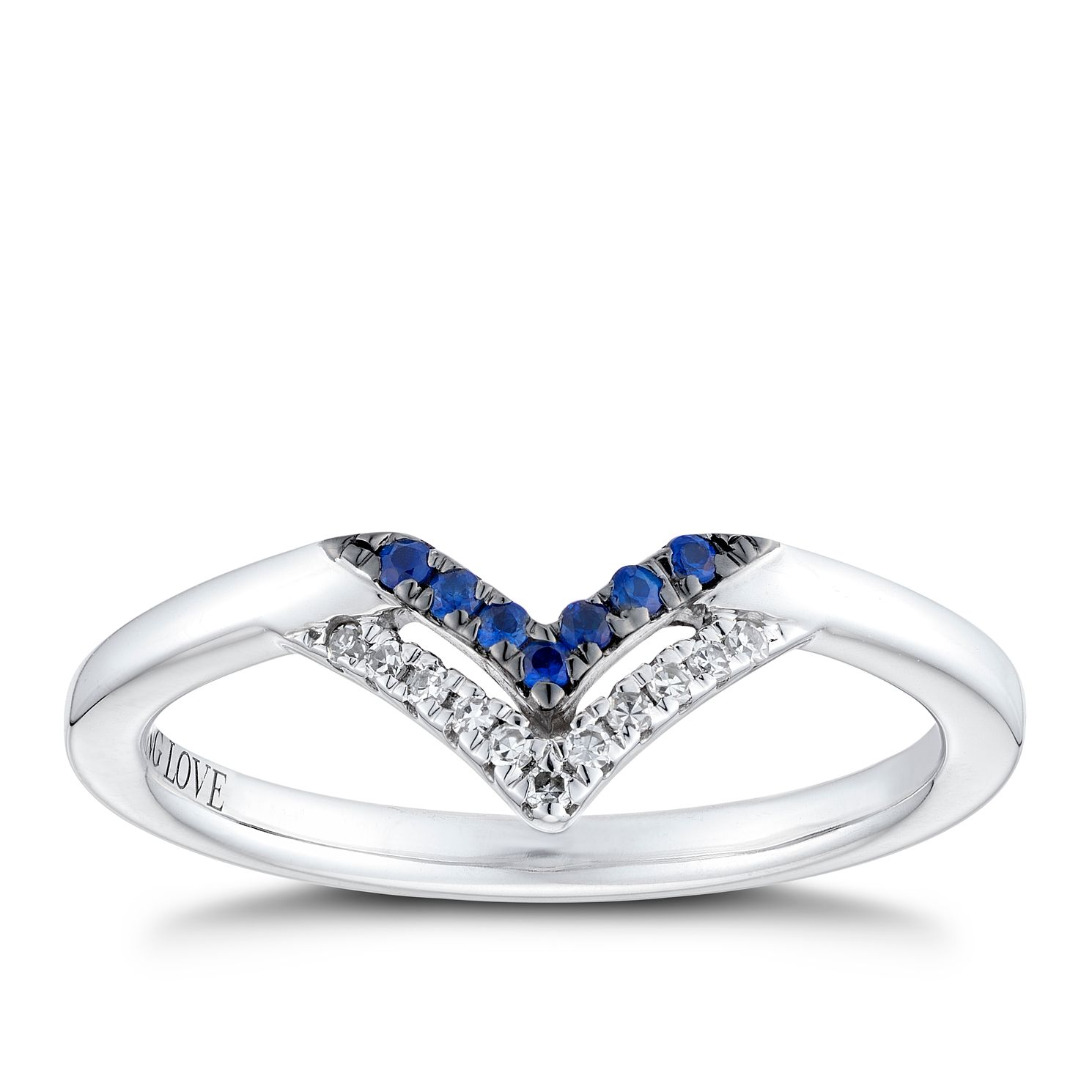 Vera Wang Sterling Silver Sapphire Diamond Chevron Ring Ernest Jones