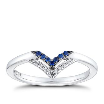 Vera Wang Sterling Silver Sapphire & Diamond Chevron Ring - Product number 2960176