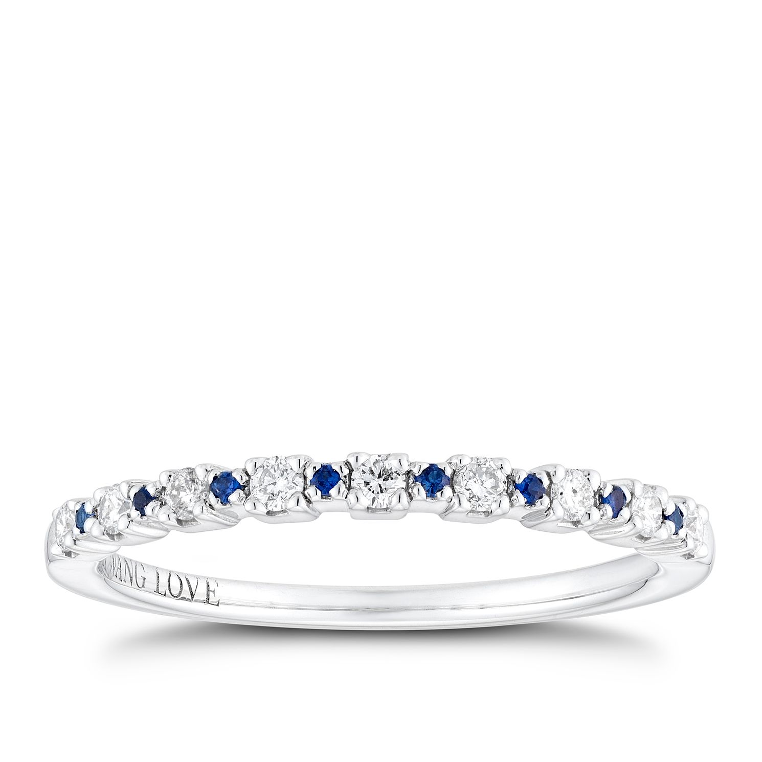 Vera Wang Sterling Silver Sapphire & Diamond Eternity Ring - Product number 2960303