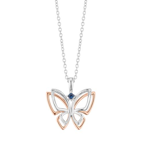 Vera Wang Two-Tone Sapphire & Diamond Butterfly Pendant - Product number 2960745