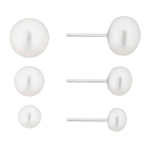Silver Cultured Freshwater Pearl Stud Earring Gift Set - Product number 2960931