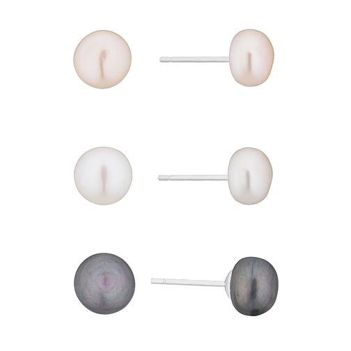 Silver Cultured Freshwater Pearl Stud Earring Gift Set - Product number 2960958