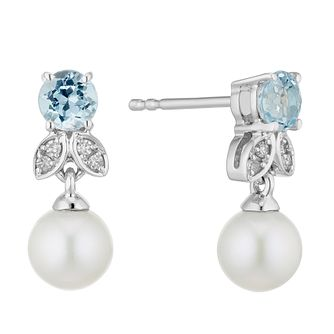9ct White Gold Freshwater Pearl Blue Topaz Diamond Earrings - Product number 2961008