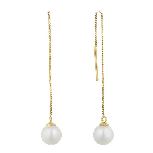 9ct Yellow Gold Freshwater Pearl Thread Through Earrings - Product number 2961032