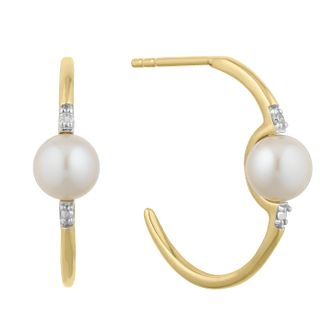 9ct Gold Cultured Freshwater Pearl & Diamond Hoop Earrings - Product number 2961059