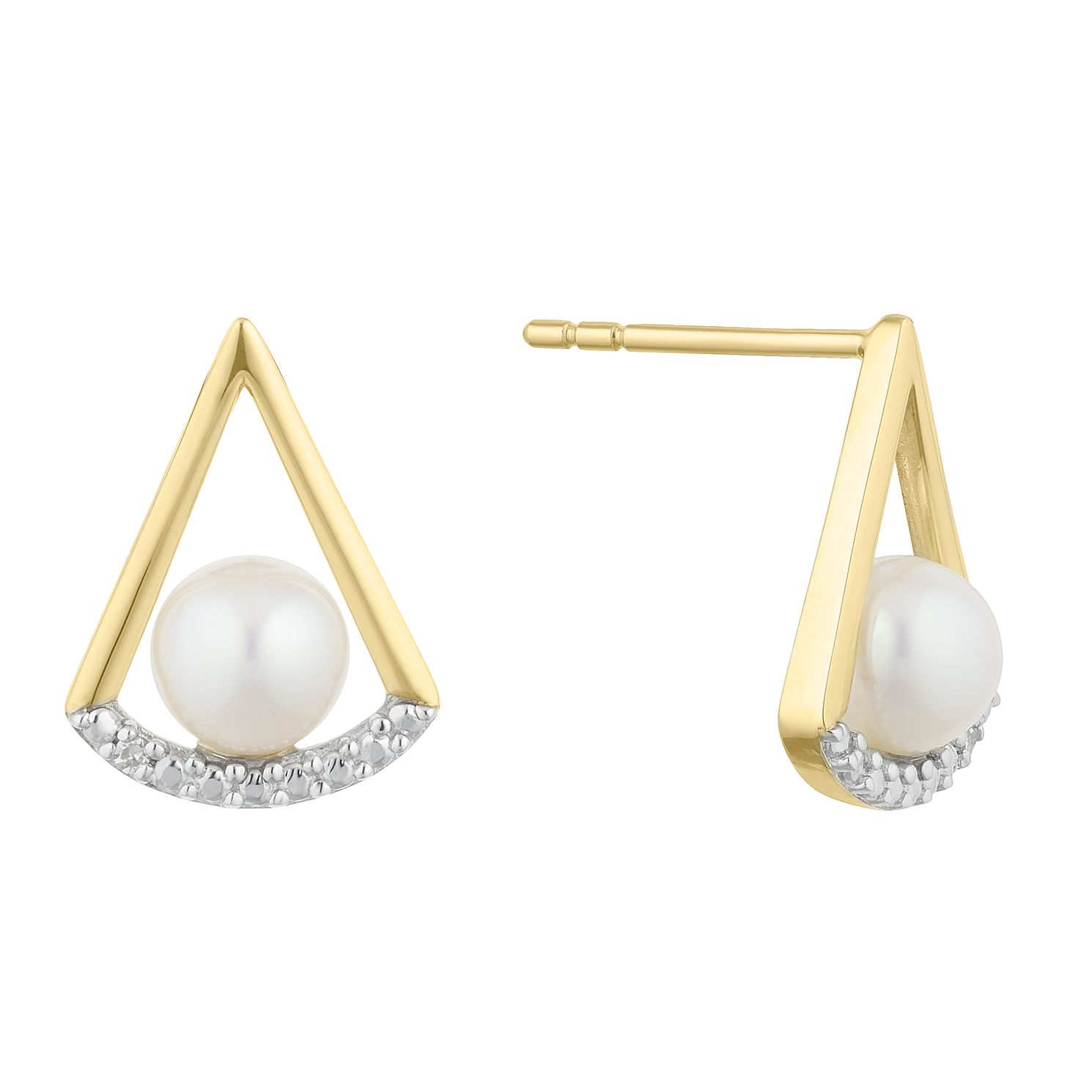 9ct Gold Cultured Freshwater Pearl & Diamond Stud Earrings - Product number 2961067