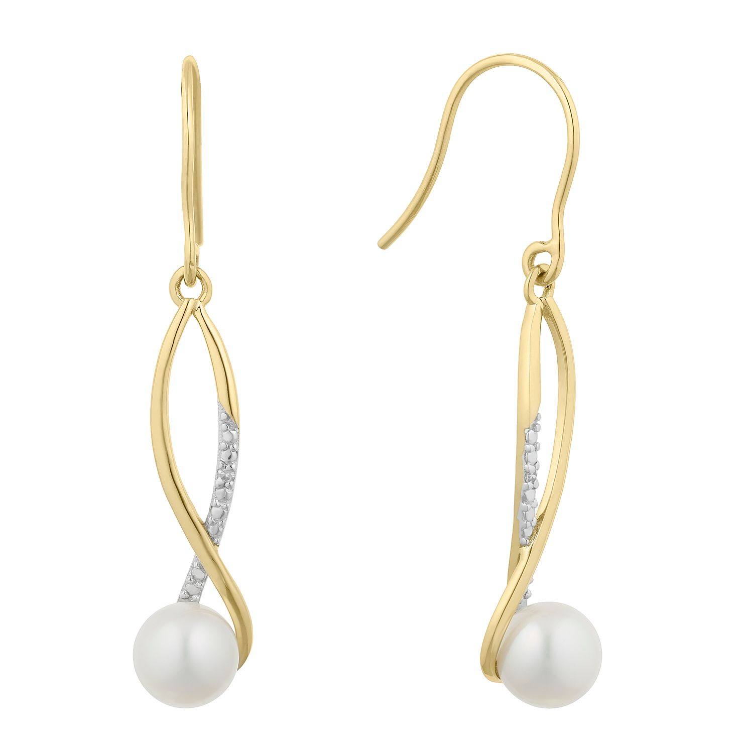 9ct Gold Cultured Freshwater Pearl & Diamond Drop Earrings - Product number 2961075
