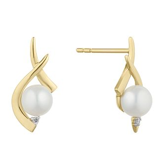 9ct Gold Cultured Freshwater Pearl & Diamond Twist Earrings - Product number 2961091