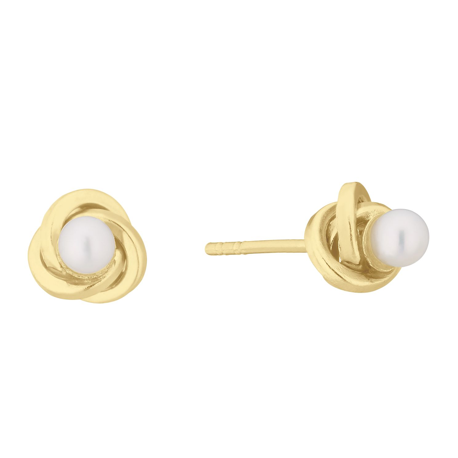 9ct Yellow Gold Cultured Freshwater Pearl Knot Stud Earrings - Product number 2961105