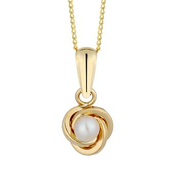 9ct Yellow Gold Cultured Freshwater Pearl Knot Pendant - Product number 2961423
