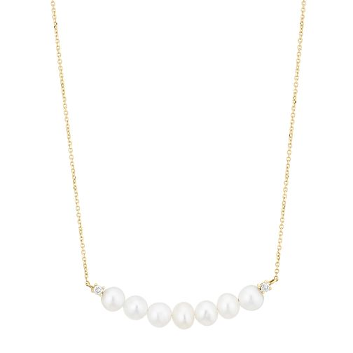 9ct Yellow Gold Cultured Freshwater Pearl & Diamond Necklace - Product number 2962365
