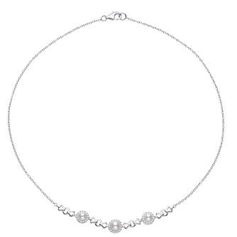 Silver, Cultured Freshwater Pearl & Cubic Zirconia Necklace - Product number 2962381