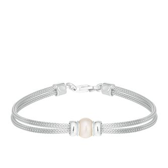 Silver & Cultured Freshwater Pearl Two-Strand Bracelet - Product number 2962403