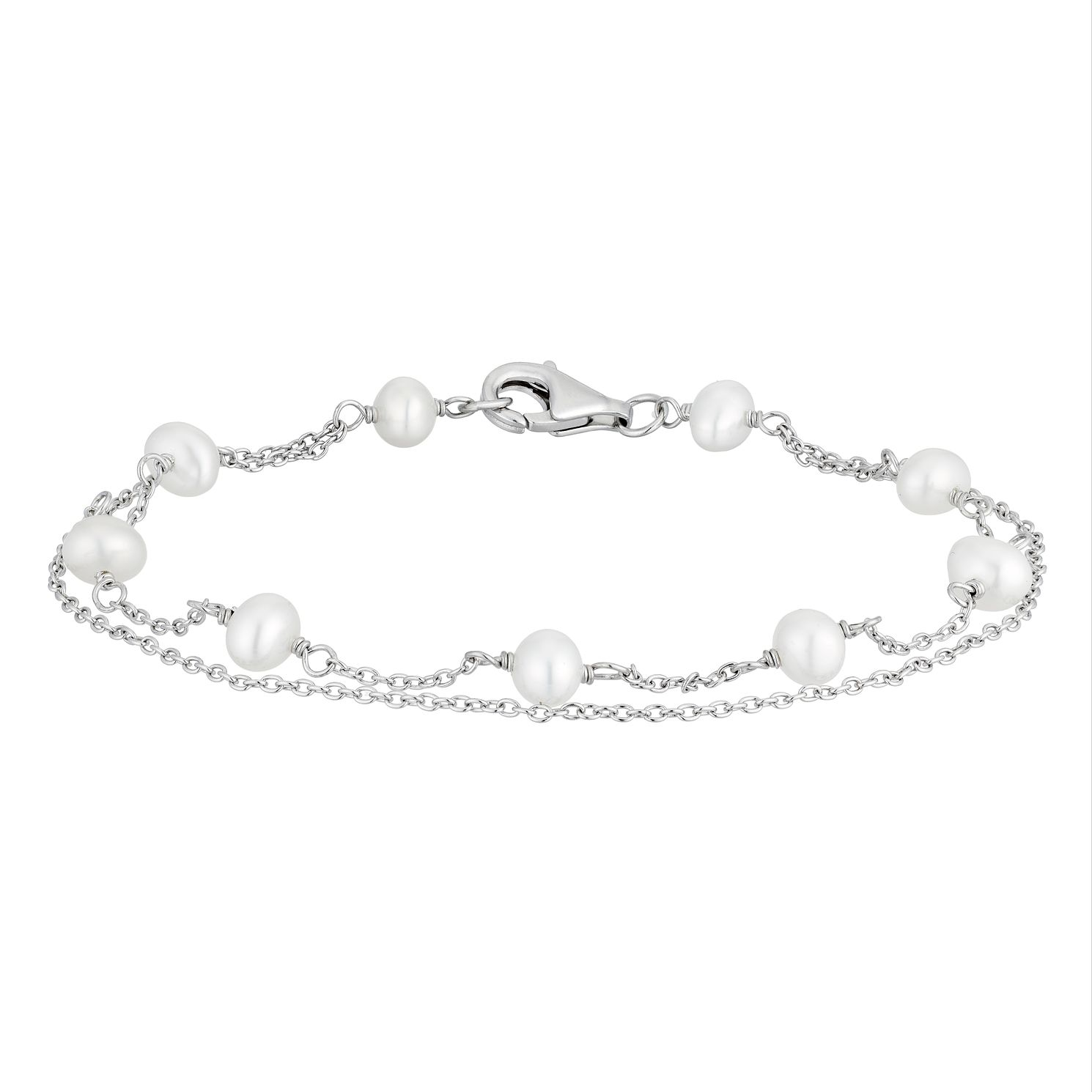 Silver Cultured Freshwater Pearl Station Bracelet - Product number 2962438