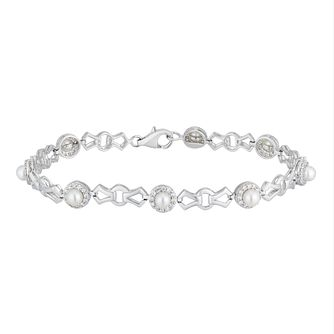 Silver Cultured Freshwater Pearl Cz Halo Bracelet - Product number 2962446