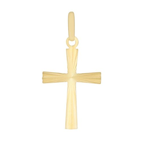 9ct Yellow Gold Diamond Cut Cross Pendant - Product number 2963094