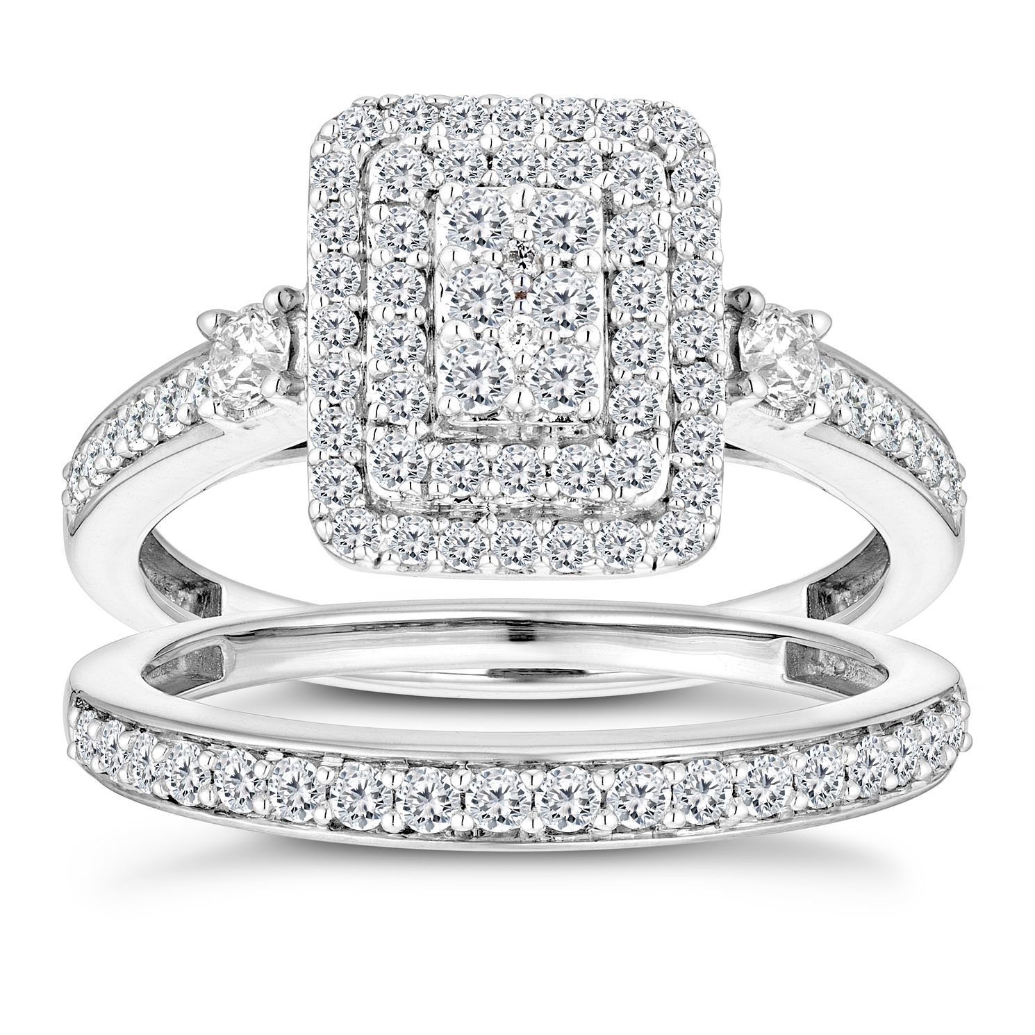 Perfect Fit 9ct White Gold Rectangle Diamond Bridal Set - Product number 2967480