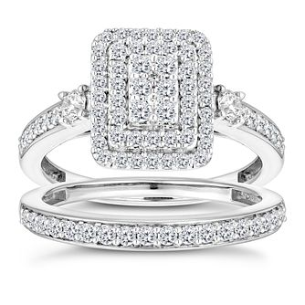 9ct White Gold 4/5ct Diamond Perfect Fit Bridal Set - Product number 2967480