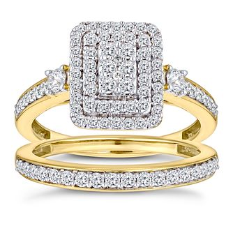 9ct Yellow Gold 4/5ct Diamond Perfect Fit Bridal Set - Product number 2967634