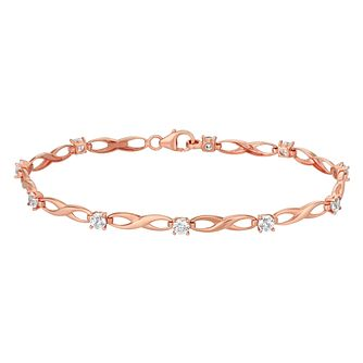 9ct Rose Gold & Cubic Zirconia Infinity Bracelet - Product number 2968843