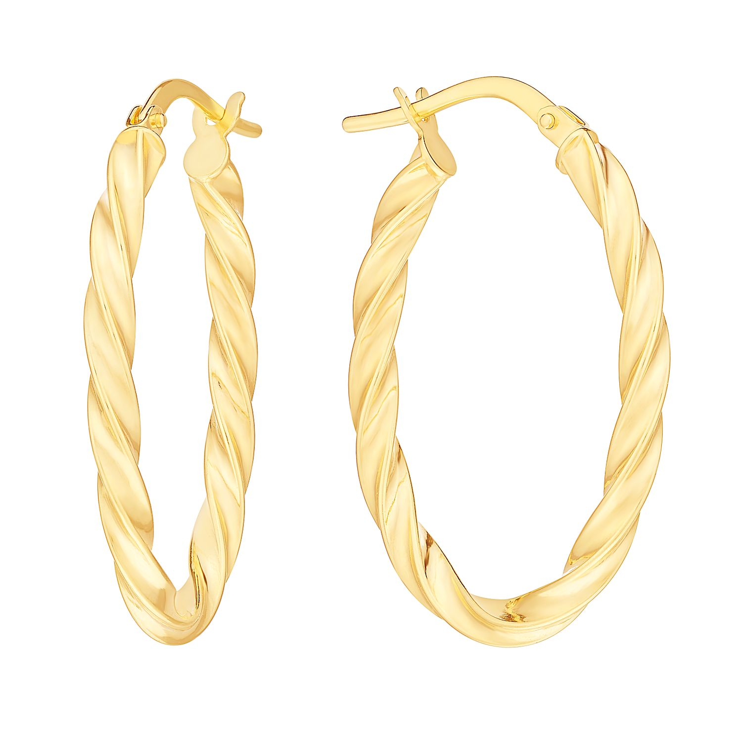9ct Yellow Gold Twist Oval Hoop Earrings - Product number 2968908