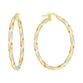 9ct Three Colour Large Twist Creole Hoop Earrings - Product number 2968940