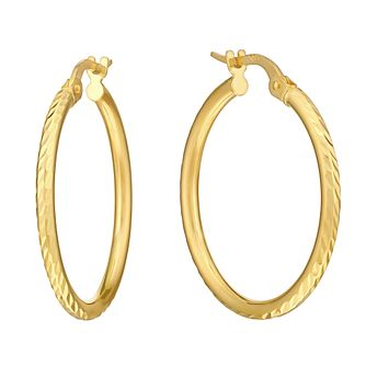 9ct Yellow Gold Diamond Cut Creole Hoop Earrings - Product number 2968959