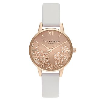 Olivia Burton Bejewelled Lace White Leather Strap Watch - Product number 2970597